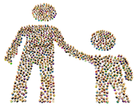 Crowd of small symbolic figures forming big person shape parent and child, 3d illustration, horizontal, isolated, over white