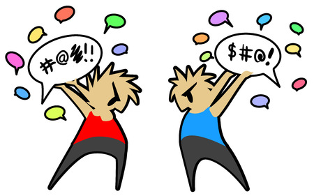 Conversation fight two people cartoon color drawing, vector illustration, horizontal, over white Çizim