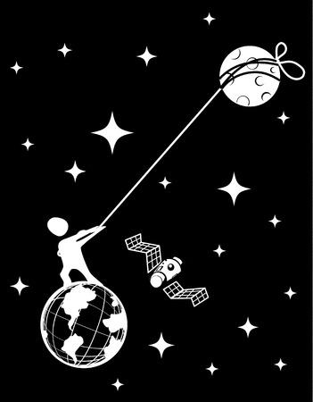 Moon pulling space human figure fantasy black, vector illustration, vertical, black, dark Ilustração