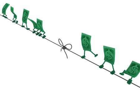 Dollar money symbol cartoon characters tightrope, 3d illustration, horizontal, isolated, over white