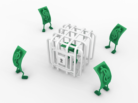 Dollar money symbol cartoon characters caged one, 3d illustration, horizontal, isolated, over white