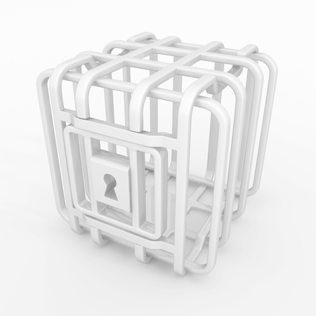 Cage small square white locked empty, 3d illustration, horizontal background