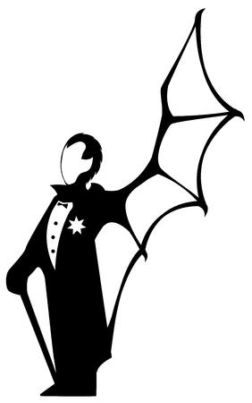Vampire man standing symbol silhouette stencil black, vector illustration, vertical, isolated