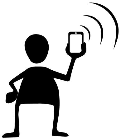Phone signal send figure stencil black, vector illustration, horizontal, over white, isolated Illustration