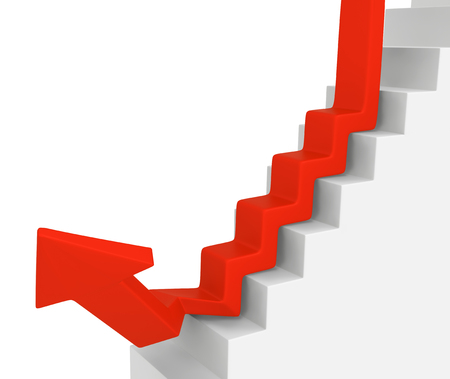 Red symbolic arrow stair downwards diverge, 3d illustration, horizontal, over white, isolated