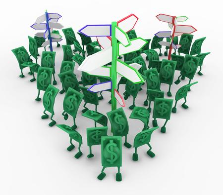 Dollar money symbol cartoon characters signposts, 3d illustration, horizontal, isolated, over white Stock Illustration - 103896519