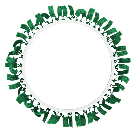 Dollar money symbol cartoon characters gravity ring run, 3d illustration, horizontal, isolated, over white Stock Illustration - 103896521