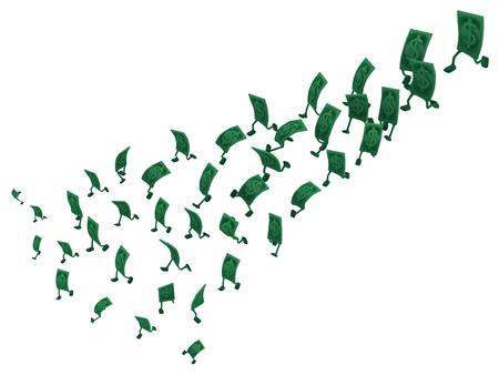 Dollar money symbol cartoon characters shrinking run, 3d illustration, horizontal, isolated, over white Reklamní fotografie