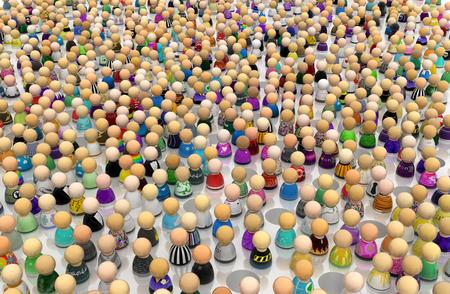 Crowd of small symbolic figures, pitfalls amidst, 3d illustration, horizontal background
