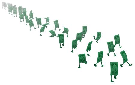 Dollar money symbol cartoon characters discolored run, 3d illustration, horizontal, isolated, over white Stock Illustration - 104439573