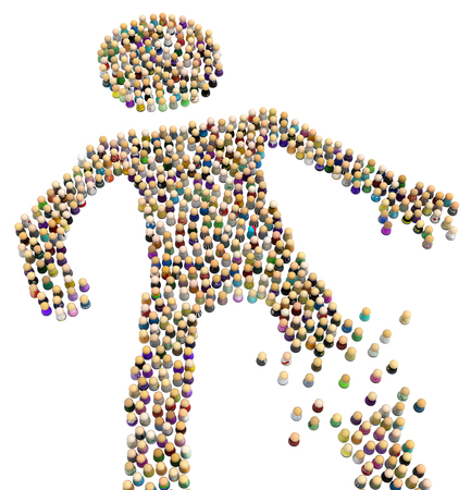 Crowd of small symbolic figures forming big person shape, broken leg, 3d illustration, horizontal, isolated, over white Stock Photo
