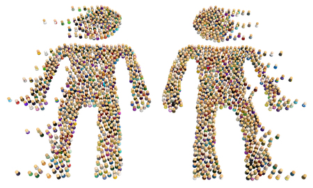 Crowd of small symbolic figures forming big person shapes two drifting apart, 3d illustration, horizontal, isolated, over white
