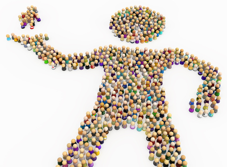 Crowd of small symbolic figures forming big person shape holding up group, 3d illustration, horizontal, isolated, over white