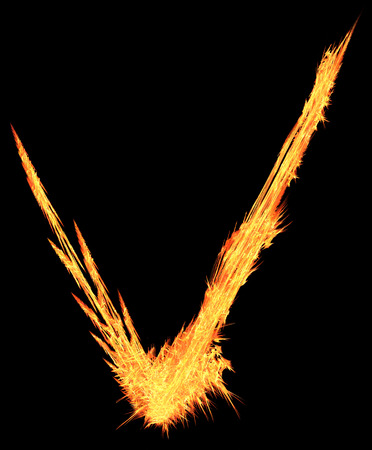 Fire streak checkmark shape special effect abstract, dark background, vertical, isolated