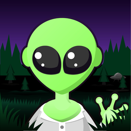 Alien green character portrait, vector cartoon color illustration horizontal, over white, isolated
