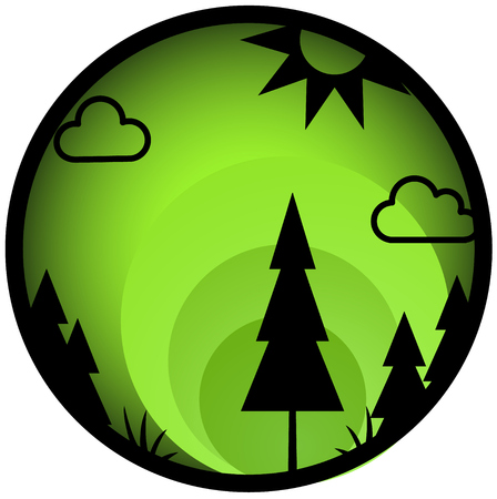 Forest theme green round icon button, vector cartoon illustration design element horizontal, over white, isolated Illustration