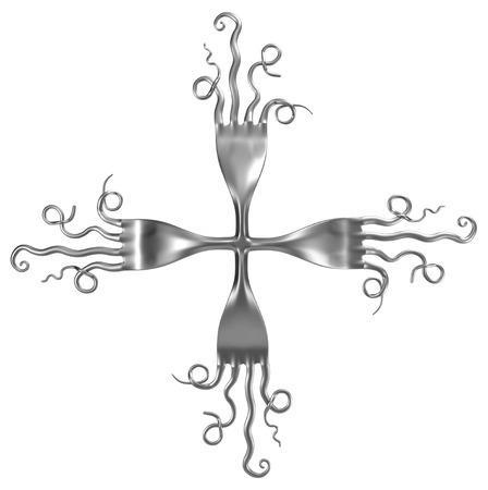 Fork metal, 3d illustration, horizontal, isolated, over white