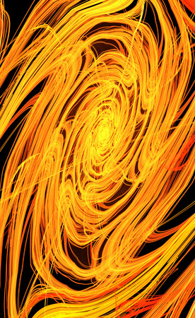 Fiery dense spin orange flame abstract, vertical, over black background