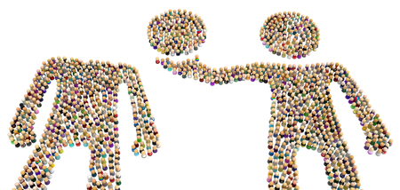 Crowd of small symbolic figures forming big person shapes  taking head, 3d illustration, horizontal, isolated, over white