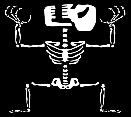 Manic skeleton figure, Halloween vector illustration, horizontal, black background, isolated