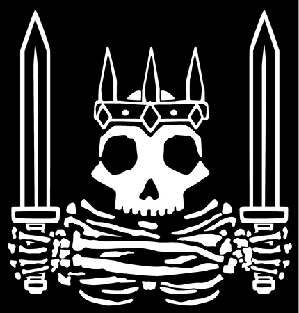 Medieval swords king skeleton emblem, fantasy vector, horizontal, black background, isolated
