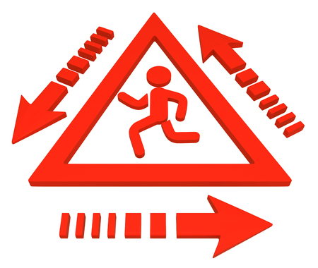 Red symbolic running figure triangle warning sign cycle around, 3d illustration, horizontal, over white, isolated