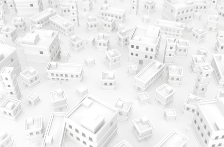 White buildings top view town empty, 3d illustration, horizontal background Stock Photo