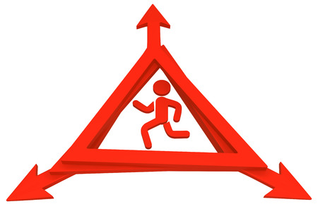 Red symbolic running figure triangle warning sign arrows, 3d illustration, horizontal, over white, isolated