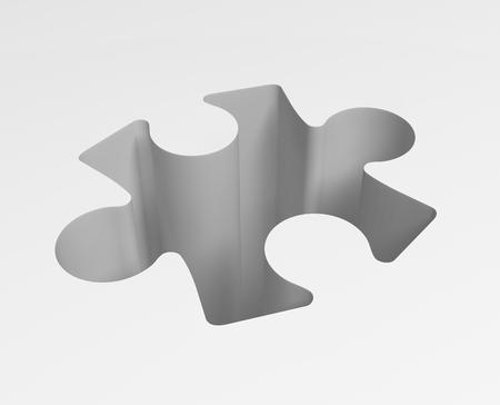 Jigsaw puzzle piece white hole drop, 3d illustration, horizontal background