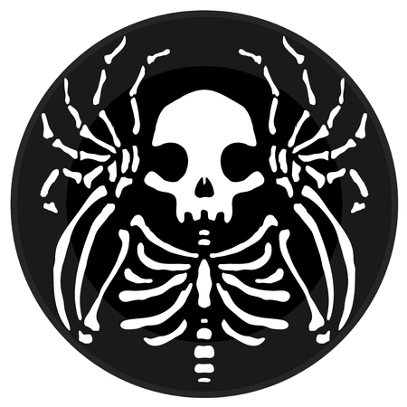 Skeleton round icon button stylized, vector cartoon illustration design element horizontal, over white, isolated