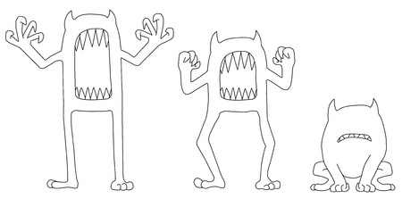 Monster scare growl poses, vector, horizontal line drawing, over white, isolated Illustration