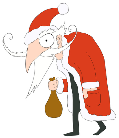Evil Santa Claus cartoon, vector, horizontal, over white, isolated