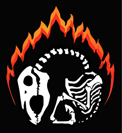 Flaming horse skeleton, vector emblem, vertical, black background, isolated