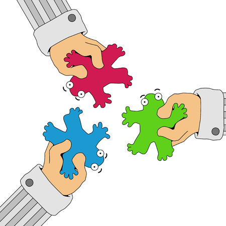 Color cartoon figures forced together, vector, horizontal, over white, isolated