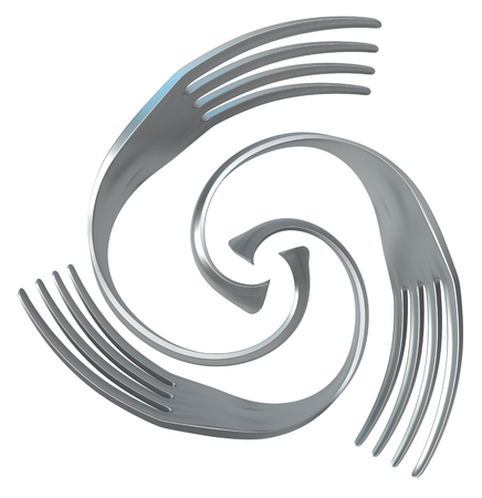 Fork metal spin three, 3d illustration, horizontal, isolated, over white