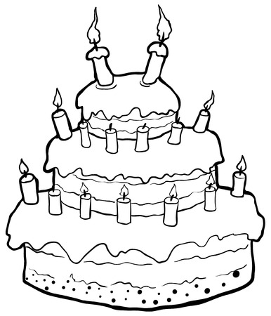 Birthday cake drawing, vector, horizontal line drawing, over white, isolated