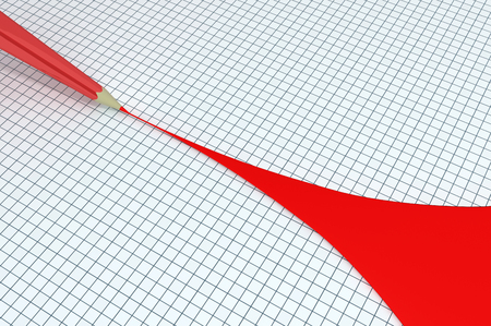 Red pencil draw wide, 3d illustration, horizontal, over white, isolated