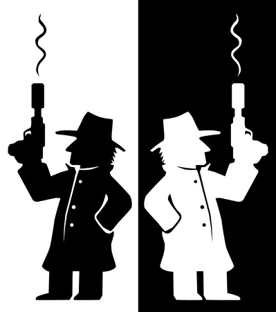 Assassin agent with smoking gun character black and white silhouette, vector illustration, vertical Reklamní fotografie - 109724590