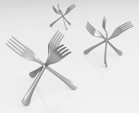 Fork metal three fused together, 3d illustration, horizontal, over white