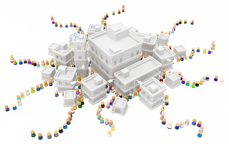 Crowd of small symbolic figures, white buildings town queues, 3d illustration, isolated
