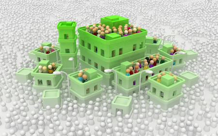 Crowd of small symbolic figures, white buildings town high green level, 3d illustration
