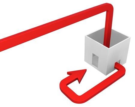 Red symbolic arrow box leak return, 3d illustration, horizontal, over white, isolated