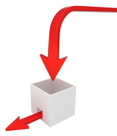 Red symbolic arrow box leak, 3d illustration, horizontal, over white, isolated