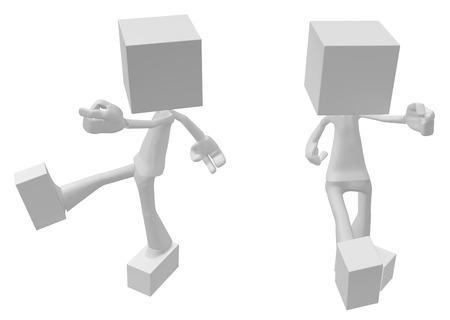 White symbolic figures square head, 3d illustration, horizontal, isolated