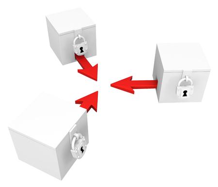 Red symbolic arrow boxes locked, 3d illustration, horizontal, over white, isolated Banco de Imagens