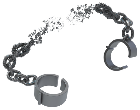 Shackles breaking chain liquid melting grey metal 3d illustration, isolated, horizontal, over white
