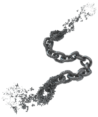 Chain liquid melting splashing fragment, dark grey metal 3d illustration, isolated, horizontal, over white Stockfoto