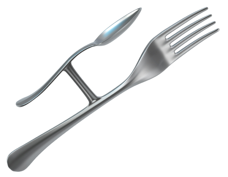 Fork metal rudimentary spoon, 3d illustration, horizontal, isolated, over white 스톡 콘텐츠