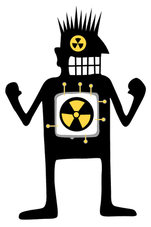 Nuclear powered cartoon character black silhouette, vector illustration, vertical, isolated, over white