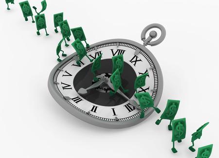 Dollar money symbol cartoon characters time run, 3d illustration, horizontal, isolated, over white Stock Illustration - 114300604